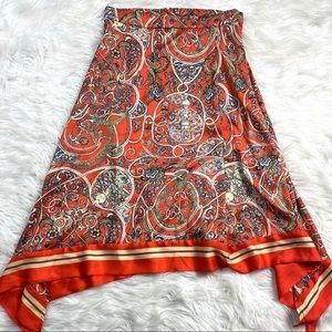 H&M New Scarf Print Faux Wrap Skirt Floral